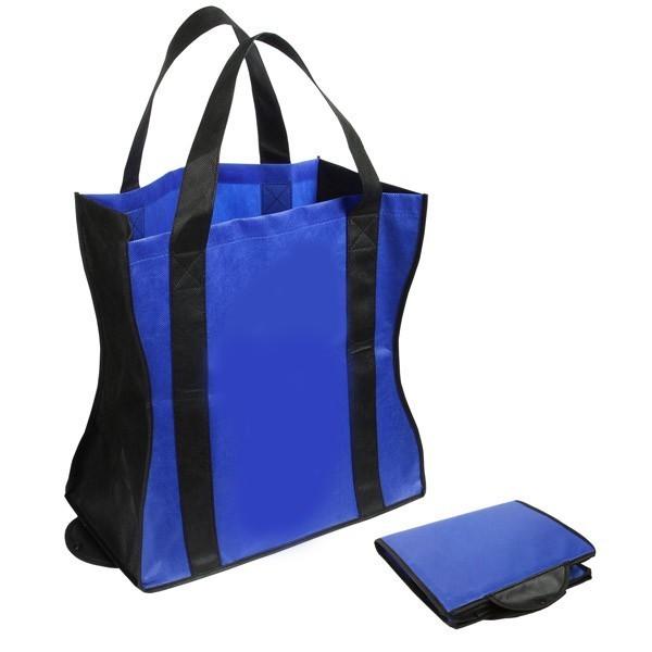 Custom Folding Tote Bags Royal Blue