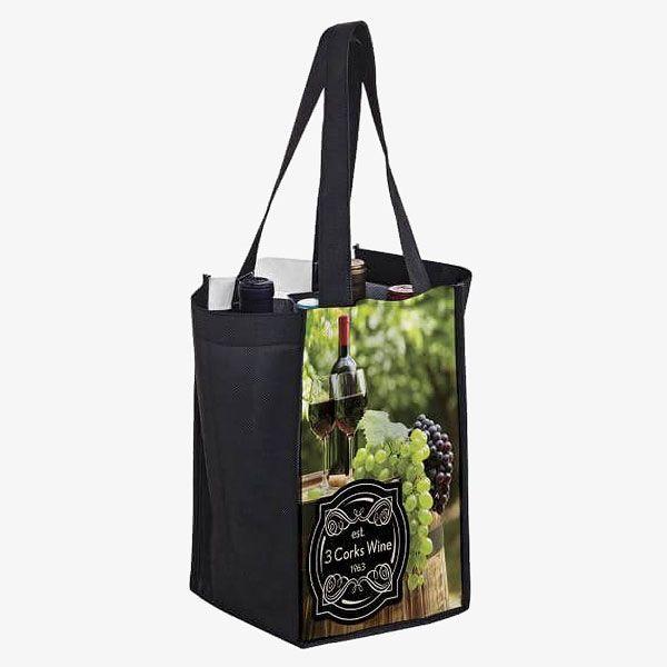 PET Promotional 4-Bottle Wine Carrier Bags
