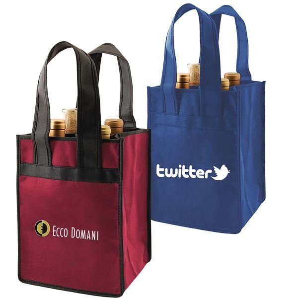 Reusable Promotional 4 Bottle Wine Totes