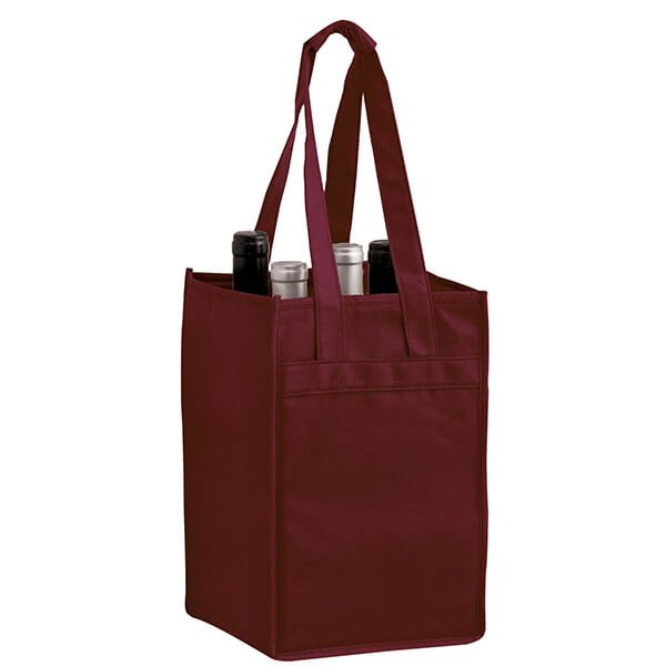 ... Reusable Wholesale 4-Bottle Wine Totes - Burgundy ... bfed1b9ff