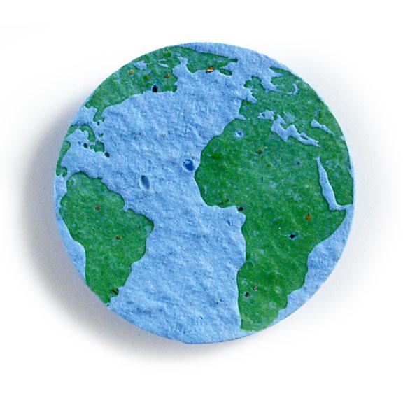Seed Paper Shape Earth 1 - Light Blue with Dark Green Letterpress