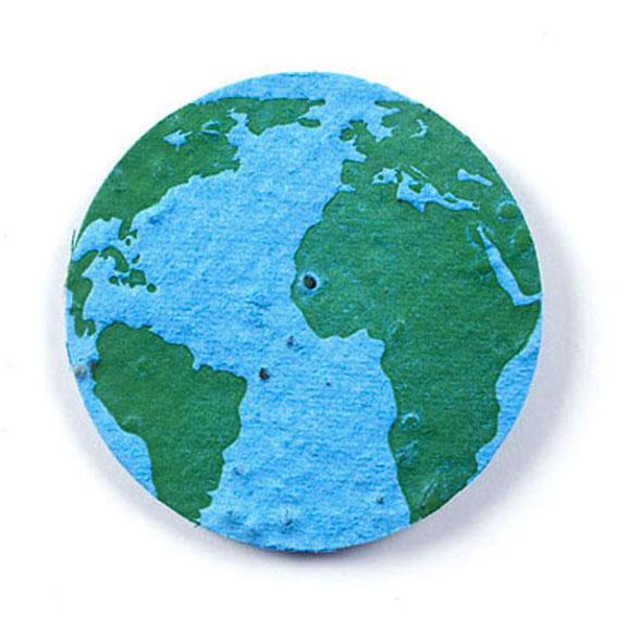 Seed Paper Shape Earth 4 - Light Blue with Dark Green Letterpress