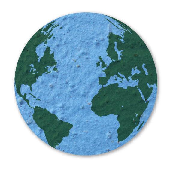 Seed Paper Shape Earth 5 - Light Blue with Dark Green Letterpress