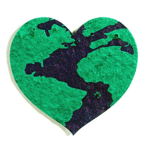 Seed Paper Shape Earth Heart - Forest Green with Dark Blue Letterpress