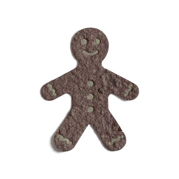 Seed Paper Shape Gingerbread Man Letterpressed - Coffee Brown