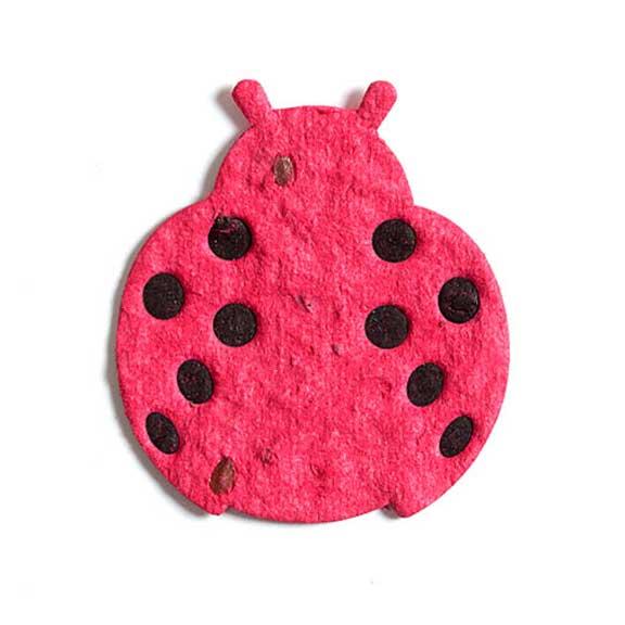 Seed Paper Shape Ladybug Letterpressed - Cranberry Red