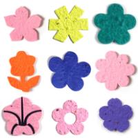 Die cut seed paper shapes various flower types