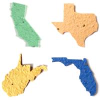 State shaped seed paper die cut