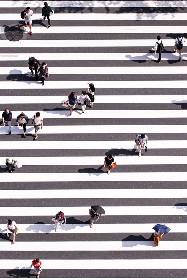 People keeping distance